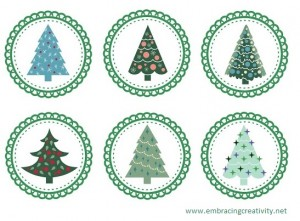 Cupcake topper - Christmas trees_embracingcreativity